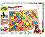 Lena 65827 - Hammerspiel Standard, Nagelspiel mit 72 farbigen Teilen in 9 verschiedenen Formen, Grundplatte aus Kork, ca. 28 x 19,5 cm, Hammer und Nägel, Hämmerchenspiel für Kinder ab 3 Jahre