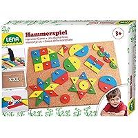 Lena-65827-Hammerspiel-Standard-Nagelspiel-mit-72-farbigen-Teilen-in-9-verschiedenen-Formen-Grundplatte-aus-Kork-ca-28-x-195-cm-Hammer-und-Ngel-Hmmerchenspiel-fr-Kinder-ab-3-Jahre