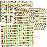 3 Stück _ Unterlagen -  Retro Motiv - Bunte Blumen & Äpfel - 44 cm * 29 cm - Tischunterlage / Platzdeckchen / Knetunterlage / Malunterlage / Eßunterlage / P..