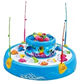 VIKASGIFTGALLERY Plastic Fishing Fish Catching Game with 26 Pieces of Fish, 2 Rotary Fish Pond and 4 Pods Includes Music and