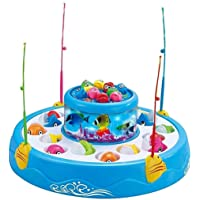 Vikas gift gallery Fishing Fish-Catching Game with 26 Pieces Fishes, 2 Rotary Ponds and 4 Pods with Music and Light…