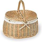 maDDma ® 1 Einkaufskorb Weidenkorb Zweideckel-Korb Handkorb Oval Stoffbezug Natur 39x30x21/35cm