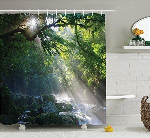 COCO-La Regenwald Dusche Vorhang Decor, Stream in the Jungle Steine unter Schatten von Bäumen Sonnenlicht Mutter Erde Thema, Stoff Badezimmer Set 152,4x 182,9cm (Coco Stein)