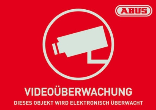 ABUS AU1421 Warnaufkleber Video -D- 74 x 52.5 mm