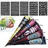 Hutiee 5*Temporäre Tattoo Kegel Kit + 5*Temporäre Tattoos Stickers, Temporäre Mehndi Tattoos, Natürliche Kegel, Tattoo Sticker, Temporäre Tätowierung,1 X Henna Applicator Fles, 3 X Kunststoffdüse
