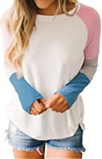 Voberry@ Shirt, Casual Loose Patchwork Half Sleeve O-Neck T Shirts Blouse Medium Pink