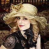 WENJUN Cappelli delle Protezioni del Partito di Cerimonia Nuziale della Chiesa di Pasqua delle Donne Cappello Estivo Visiera Mare Vacanza Grande Cappello Cappello da Sole Piegare Cappello da Spiaggia
