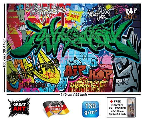 GREAT ART XXL Poster Kinderzimmer - Graffiti - Wand Dekoration Bunte Zeichen Schriftzüge Pop Art Mauer Street Style Writing Hip Hop Wallpaper Street Art Wandposter Fotoposter (140 x 100 cm) - Doodle-pop-art