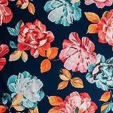 On Trend Fabrics Stoff/Scuba-Jersey-Stoff, Blumenmuster,