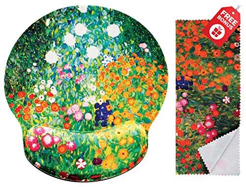 Alfombrilla de ráton de diseño ergonómico Gustav Klimt Flower Garden con soporte para la muñeca. Alrededor del área de gran movilidad. Paño de limpieza de microfibra a juego para gafas y pantallas. Ideal para juegos y trabajo