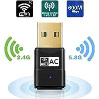Maxesla USB WiFi Adapter 600M Mini WiFi Dongle 802.11ac, Dual Band 2,4/5 GHz Wireless Netzwerk Adapter für PC/Desktop…
