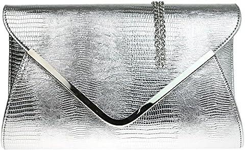 H&G Mesdames animaux Croc impression enveloppe plate soirée Pochette - argent