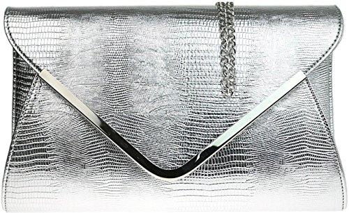 H&G Damen Animal Print Croc flachen Umschlag Clutch Abendtasche - Silber