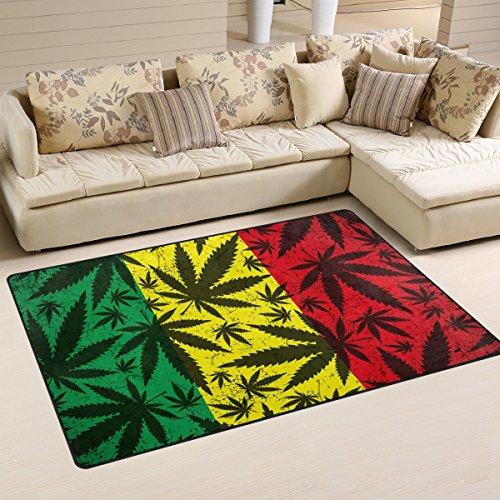 Coosun de hoja de marihuana en Grunge bandera rastafari área alfombra alfombra alfombra de suelo antideslizante...