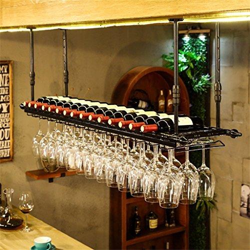 JIA JIA HOME- Weinregale, höhenverstellbar Weinflaschenhalter Deckenmontage hängend, Metall Eisen Weinglas Rack Becher Stemware Racks für Bar / Restaurant / Home - verschiedene Größen erhältlich ( Farbe : Schwarz , größe : L120*W30cm ) (Deckenmontage Rack Glas Wein)