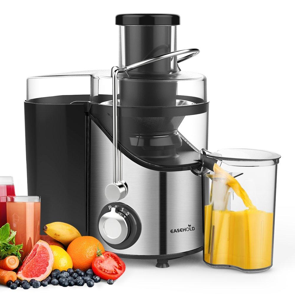 Entsafter für Gemüse und Obst, Easehold 2 Geschwindigkeitsstufen 65mm Einfüllöffnung Saftpresse Juicer elektrisch, BPA frei, Reinigungsbürste und