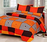 #6: mahadev texo fab Cotton Double Size 3D Printed Bedsheet with 2 Pillow Covers -Multicolored-90 inch x 90 inch
