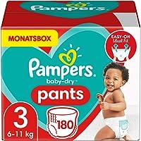 Pampers Windeln Pants Größe 3 (6-11kg) Baby Dry, 180 Höschenwindeln, MONATSBOX, Einfaches An- und Ausziehen…