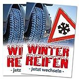 Amitola Werbecenter 2 x Winterreifen wechseln Poster/Plakat DIN A1 Werbung für Reifenhändler