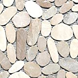 Mosaik Fliese Flußkiesel Steinkiesel hellbeige Kiesel geschnitten für BODEN WAND BAD WC DUSCHE KÜCHE FLIESENSPIEGEL THEKENVERKLEIDUNG BADEWANNENVERKLEIDUNG Mosaikmatte Mosaikplatte