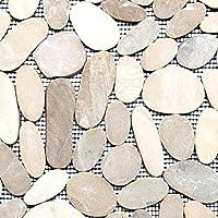 Natursteinmosaik Fliesen wei/ß flusskiesel Wand Boden Dusche WC K/üche es-47628/_f Art 10 Matten