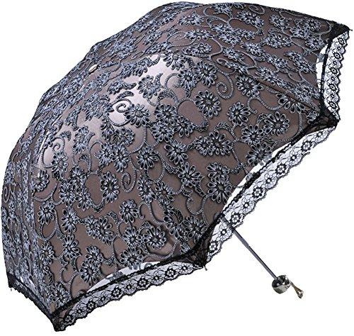 Honeystore Regenschirm, Automatik Spitze Outdoor Taschenschirm Bohème Stil Stabiler Schirm für Damen Schwarz