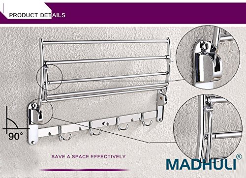 MADHULI Stainless Steel Folding Towel Rack, 24-inch, 2 Feet Long Mirror Chrome Finished