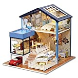 Handgefertigtes Holz-Puppenhaus zur Selbstmontage, Miniaturset, Modellhaus im Seattle-Stil, mit LED-Beleuchtung und Möbel/Spieluhr