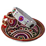 Unique Arts Full Kundan Side design Karwa Chauth Puja Thali Set