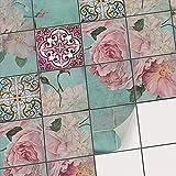 creatisto Fliesen-Muster Klebefliesen Fliesenaufkleber | Deko-Fliesen-Sticker für Küchenfliesen und Bad Wandfliesen Fliesenspiegel | 15x15 cm - Muster Durch die Blume - 20 Stück