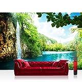 Mural de papel pintado 400x280 cm tapiz para pared en papel pintado no tejido prémium plus, cascada en el paraíso - cascada, laguna, montañas del paraíso, lago, bosque, árboles, paisajeN.º 035.