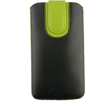 Emartbuy® PU Leather Slide in Pouch Cover Sleeve Holder for Swipe KONNECT Neo Smartphone (Size 3XL_Black/Green Plain)