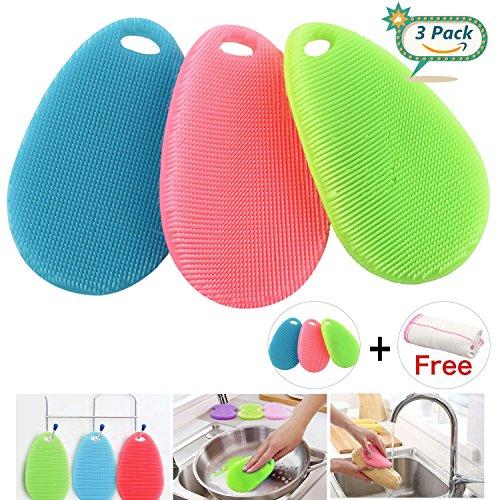 Silikon Schwamm, Gifort Food Grade Multi-Purpose Antibakterielle Silikon Scrubber Schwamm Reinigungsbürste Küche & Bad (3 pack Water Drop)