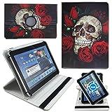 Totenkopf Rose Tablet Tasche Schutz Etui Hülle für 10 Zoll Jay-Tech / CANOX Tablet PC 101