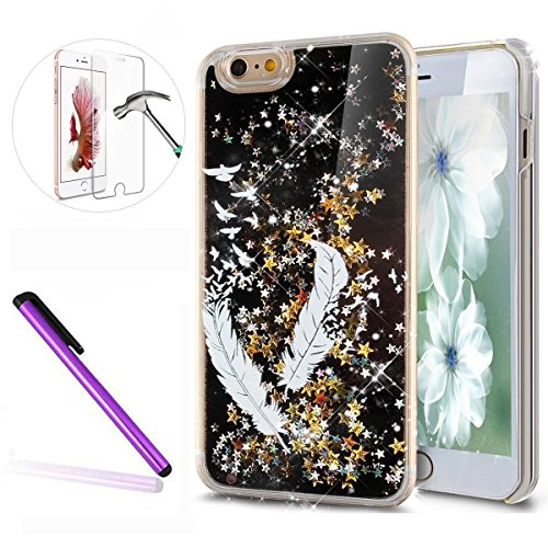 iPhone 6S Coque Silicone,iPhone 6S Coque Bling,iPhone 6S Coque en Silicone Placage Bling Diamant Coque Clair,EMAXELERS iPhone 6 / 6S Silicone Case Silver Slim Soft Gel Cover with Diamond,iPhone 6S Bli D Black Liquid 12