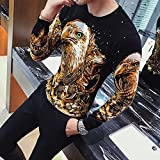 OME&QIUMEI Baumwolle Crewneck Sweater Pullover Mens Jugend Slim 3D-Rendering 2Xl Golden