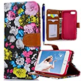 iPhone 7 Hülle, Yokata PU Leder Flip Vintage Farbig Ölgemälde Blumen Case Weich TPU Silikon Backcover mit Credit Card Slots Brieftasche Tasche + 1 x Kapazitive Feder