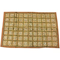 Mogul Interior Tapestry Vintage Sari Patchwork Gold Brown Decorative Wall Hanging