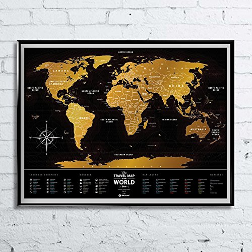 Premium Deluxe Poster Weltkarte zum Abkratzen – Global Travel Places Bucket List Reisende – Schwarz & Gold