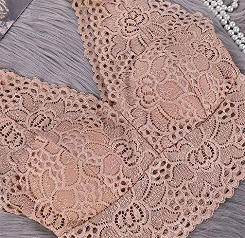 Jinqiuyuan Frauen Push-Up-BH Set Sexy Blumenspitze Transparent Bralette reizvolle Wäsche-BH ohne Bügel Höschen Set (Color : Blue, Cup Size : One Size) - 3