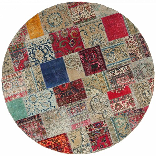 Patchwork-orientalische Teppiche (Patchwork Teppich Orientalischer Teppich 251x251 cm, Rund Handgeknüpft Modern)
