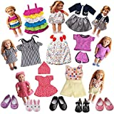 American Girl Doll Clothes - 7 Doll Clothes And 5 Doll Shoes Doll Accessories Set For America Girl Doll Holiday Lot Fits 18-Inch American Girl Doll Clothes