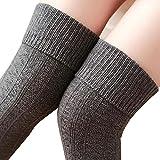 Knee High Socks 1 Paar Halten Overknee Strümpfe Stricken Sport Socken , Grau - one size