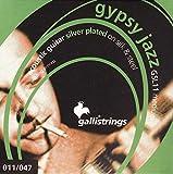Galli Strings GSL11 GYPSY JAZZ Gitarrensaiten für Akustik-Gitarren, Medium, Stahl / Seide, versilbert