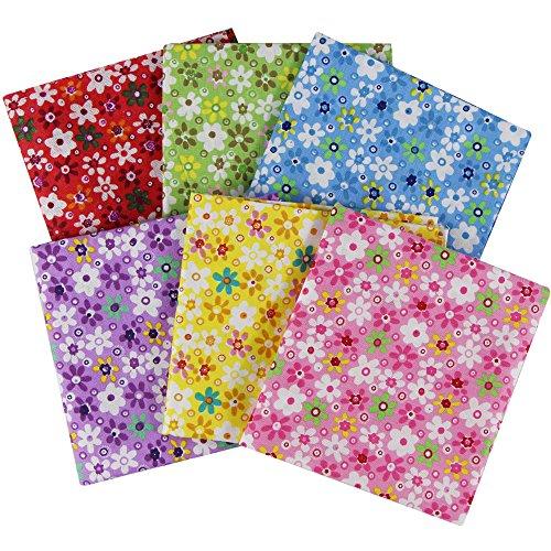 EDGEAM 6 Stück Baumwollstoff Quadrat aus 100% Baumwolle modische Muster Patchwork Stoffpakete 50cm X 50cm (Stil-a)