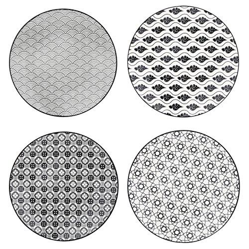 Vancasso HARUKA 4pcs Assiettes Plates Rond 21.5cm Porcelaine Assiette à Dessert Gâteaux Service de Table Vaisselles Style Japonais Asiatique NOIR