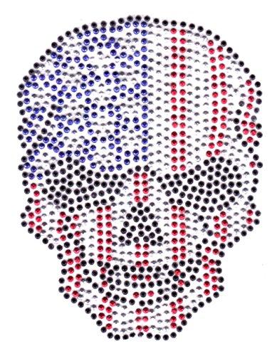 b2see Iron on Bügel-Strass USA Skull Totenkopf Aufnäher Patches Bügelbild Applikation Sticker Biker Skull Flicken Aufbügler Jacken zum aufbügeln waschbare Qualität Varianten 10 X 8 cm (trumpish) (Jacken Mit Strass-steinen)