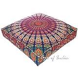 88,9cm Übergroße groß Mandala quadratisch blau Boden Kissenbezug Pouf Hundebett Meditation Kissen Platz Hippie Indianer Boho