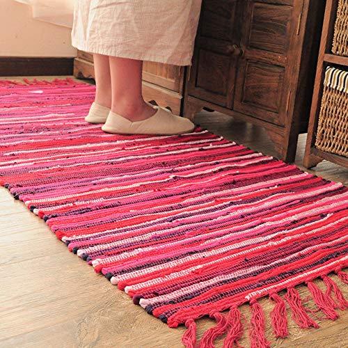 Teppiche für Wohnzimmer Sofa Bereich Dekoration Mediterranen Stil Streifen Muster Quaste Dekoration Mode Design 100{556d63aacfb0166b509e6fc698452efa4e633214a5f94873a0186e3565ef1b9f} Baumwolle Multi Verwendung(Rot,50x80cm)