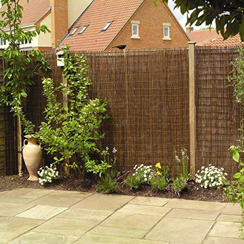 Brunnen und Mehr Weidenmatte Sichtschutzmatte Weidenzaunmatte für Garten Balkon & Terrasse 180cm x 400cm, Papillon